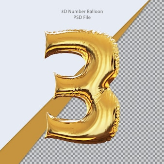 3d número 3 balão dourado