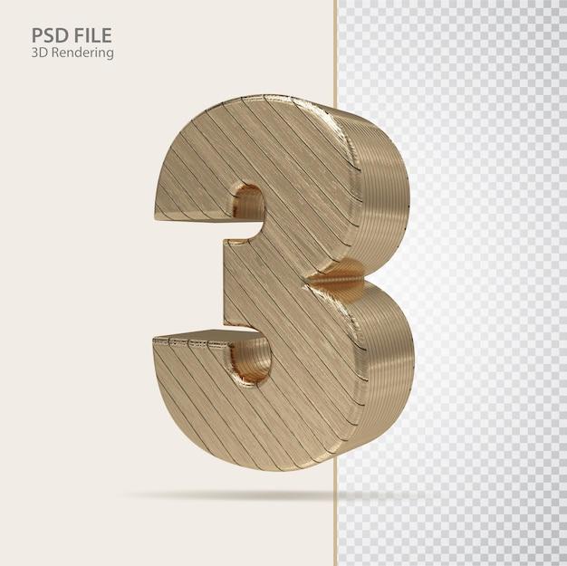 3d número 3 com estilo de luxo dourado