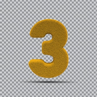 3d número 3 da grama amarela