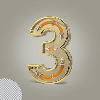 3d número 3 ilustrações douradas