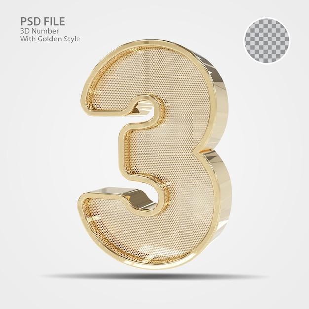 3d número 3 ouro
