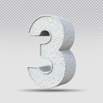 3d número 3 padrão de mármore