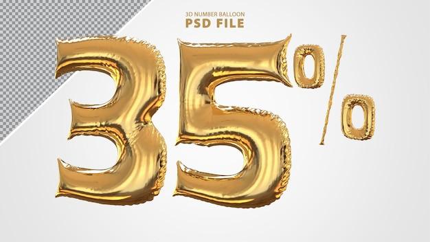 3d número 35 por cento do balão dourado
