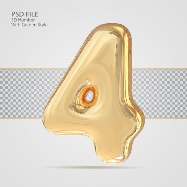 3d número 4 com criativo de luxo de estilo dourado