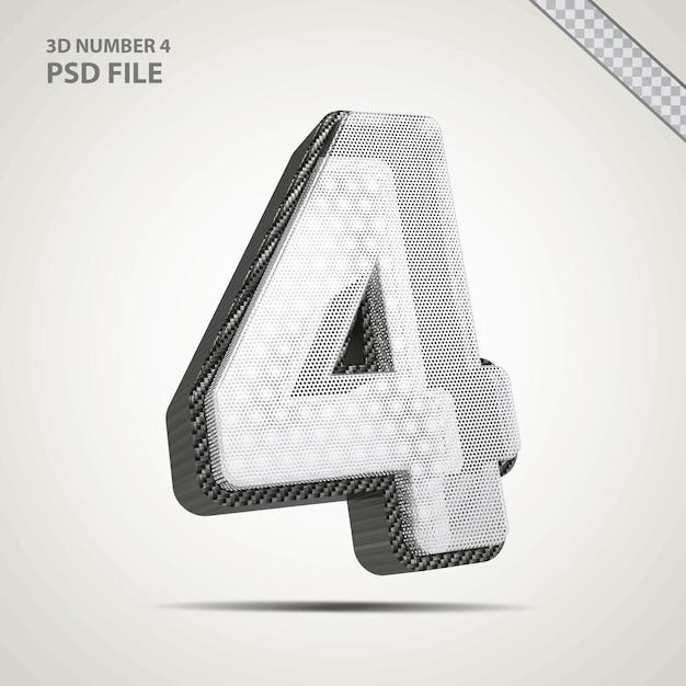 3d número 4 com criativo estilo preto