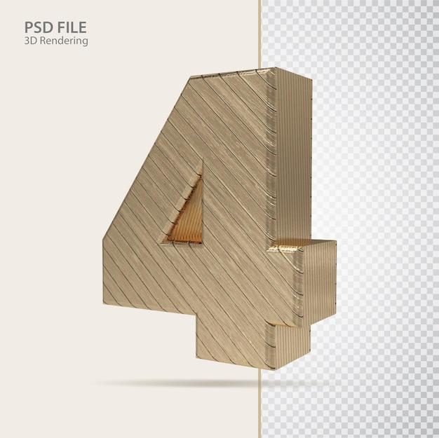 3d número 4 com estilo de luxo dourado