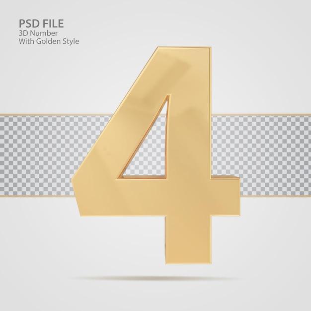3d número 4 com luxo de renderização de estilo dourado