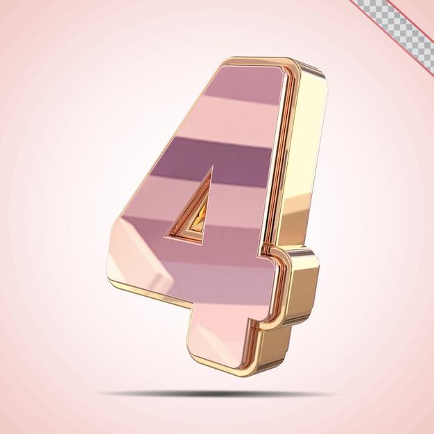3d número 4 dourado com estilo rosa