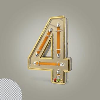 3d número 4 ilustrações douradas