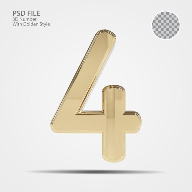 3d número 4 ouro