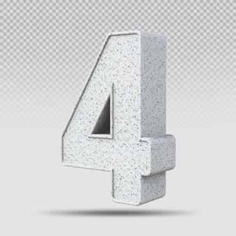 3d número 4 padrão de mármore