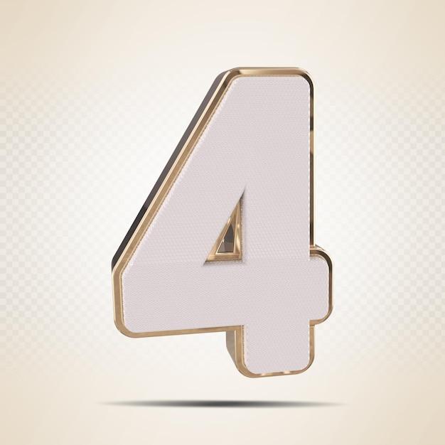 3d número 4 renderização de ouro
