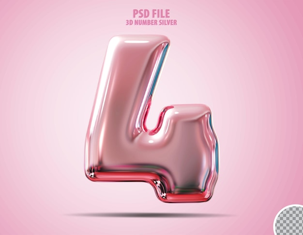 3d número 4 rosa luxo render