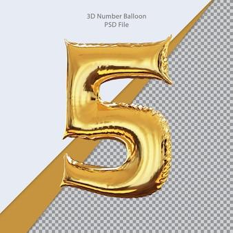 3d número 5 balão dourado