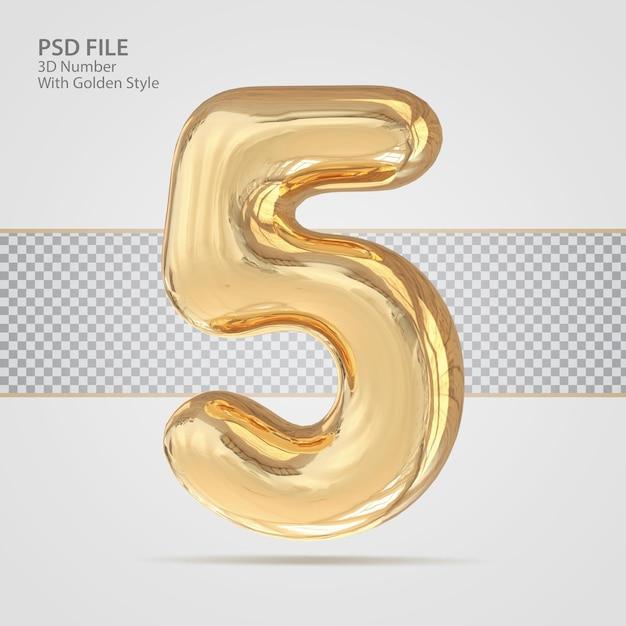 3d número 5 com criativo de luxo de estilo dourado