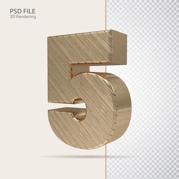 3d número 5 com estilo de luxo dourado