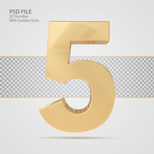 3d número 5 com luxo de renderização de estilo dourado
