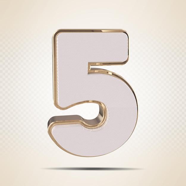 3d número 5 com rende estilo ouro