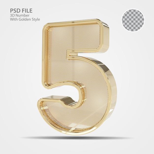 3d número 5 de ouro