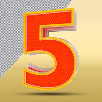 3d número 5 estilo cor laranja png