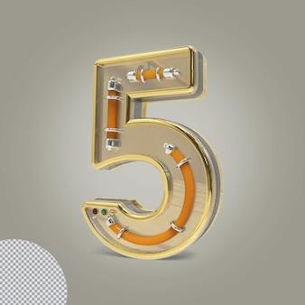 3d número 5 ilustrações douradas