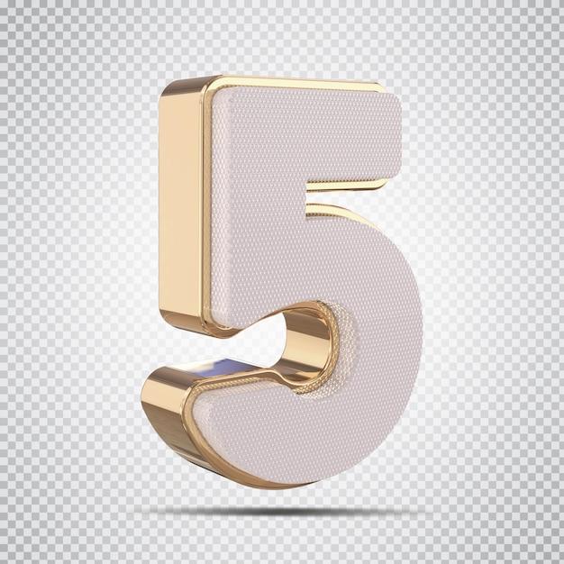 3d número 5 luxo dourado render design criativo