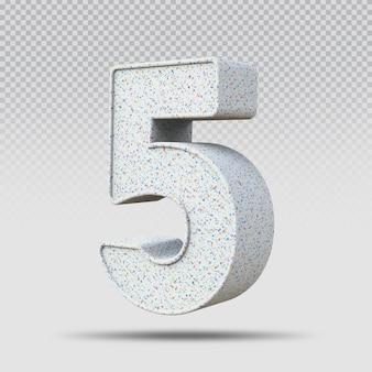 3d número 5 padrão de mármore