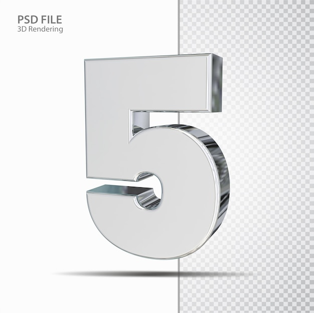 3d número 5 prata luxo