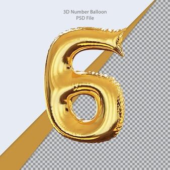 3d número 6 balão dourado