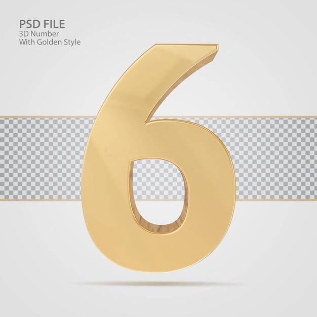 3d número 6 com luxo de renderização de estilo dourado