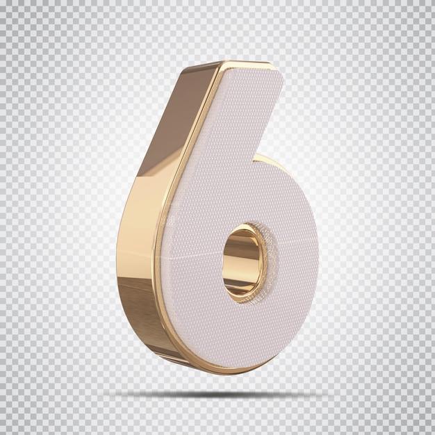 3d número 6 com renderização de estilo dourado