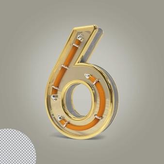 3d número 6 ilustrações douradas