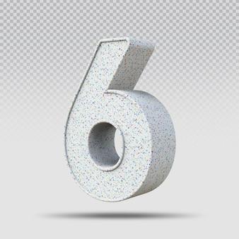 3d número 6 padrão de mármore