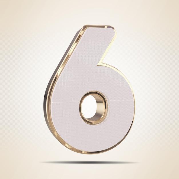 3d número 6 renderização de ouro