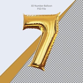 3d número 7 balão dourado