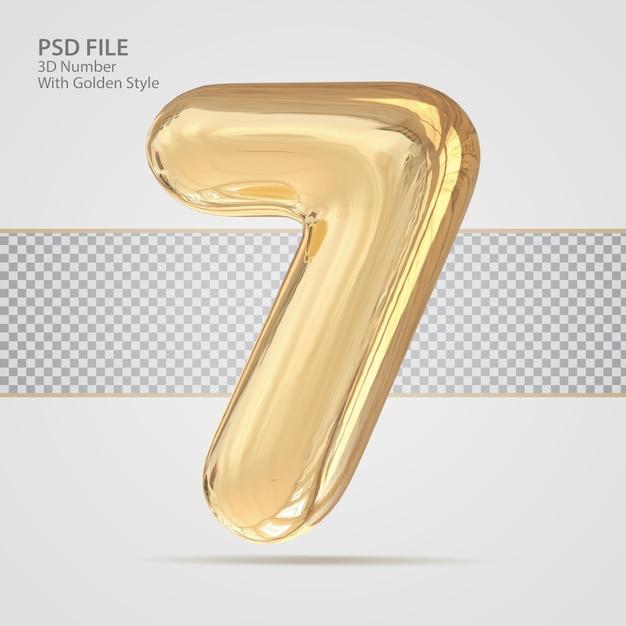 3d número 7 com criativo de luxo de estilo dourado