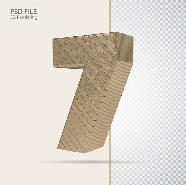 3d número 7 com estilo de luxo dourado