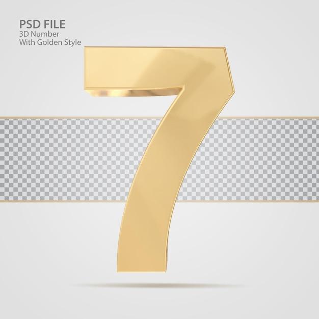 3d número 7 com luxo de renderização de estilo dourado