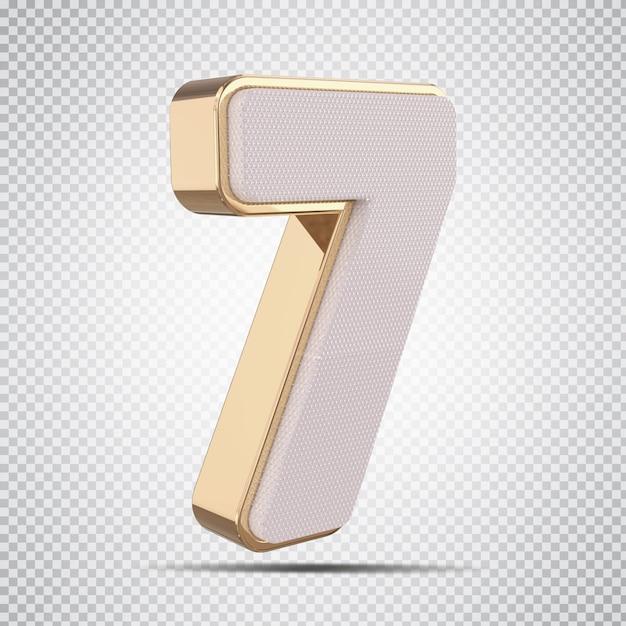 3d número 7 luxo dourado render design criativo