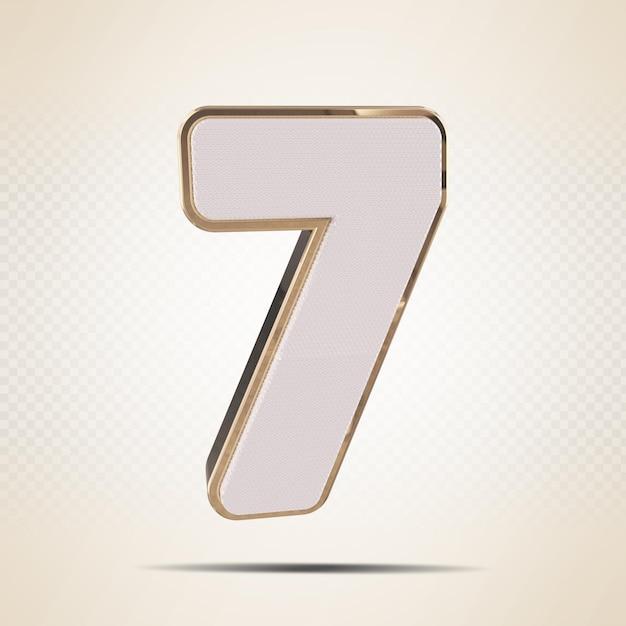 3d número 7 ouro render