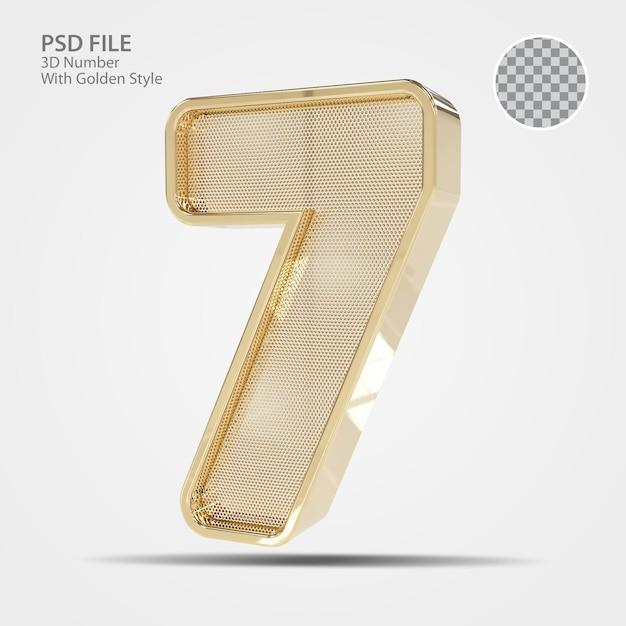 3d número 7 ouro