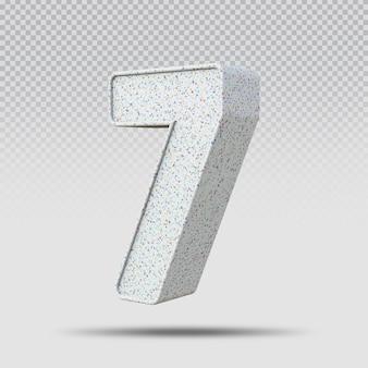 3d número 7 padrão de mármore
