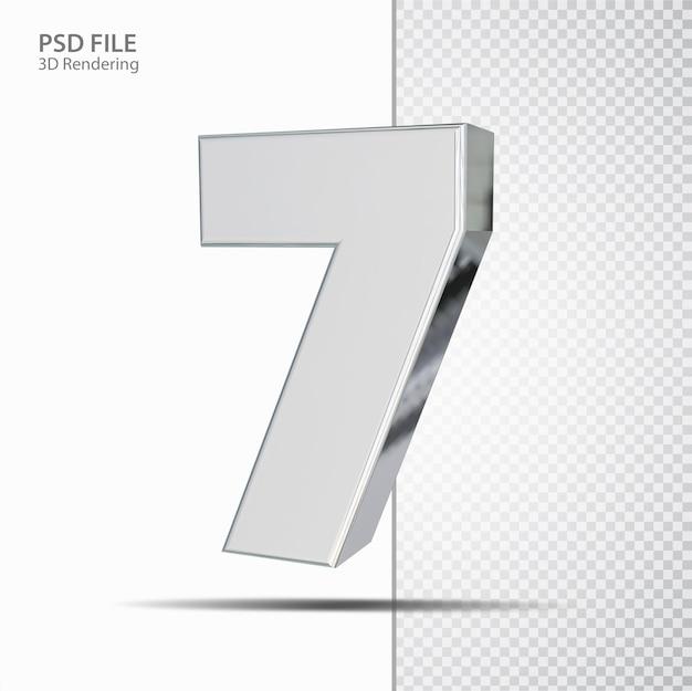 3d número 7 prata luxo