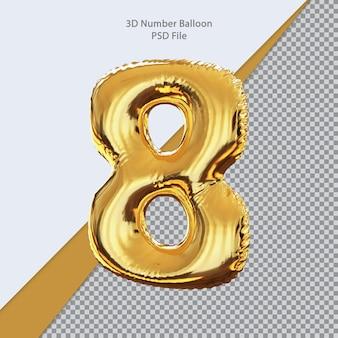 3d número 8 balão dourado