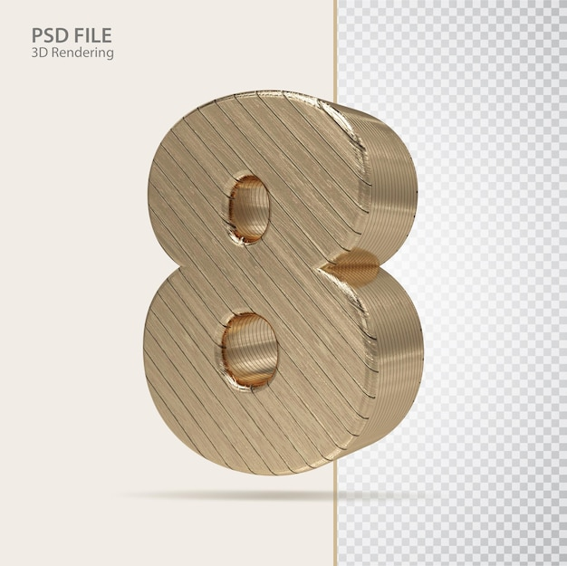 3d número 8 com estilo de luxo dourado