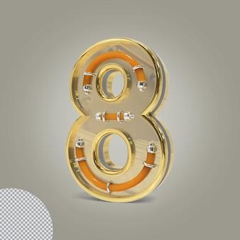 3d número 8 ilustrações douradas