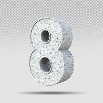 3d número 8 padrão de mármore