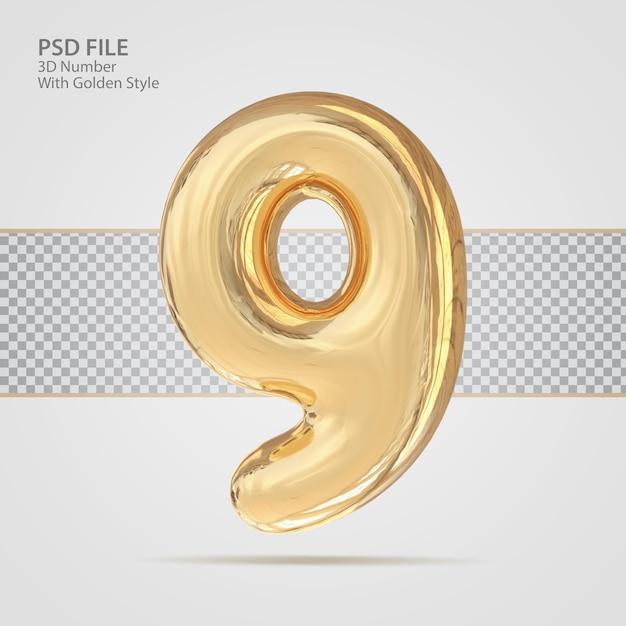 3d número 9 com criativo de luxo de estilo dourado
