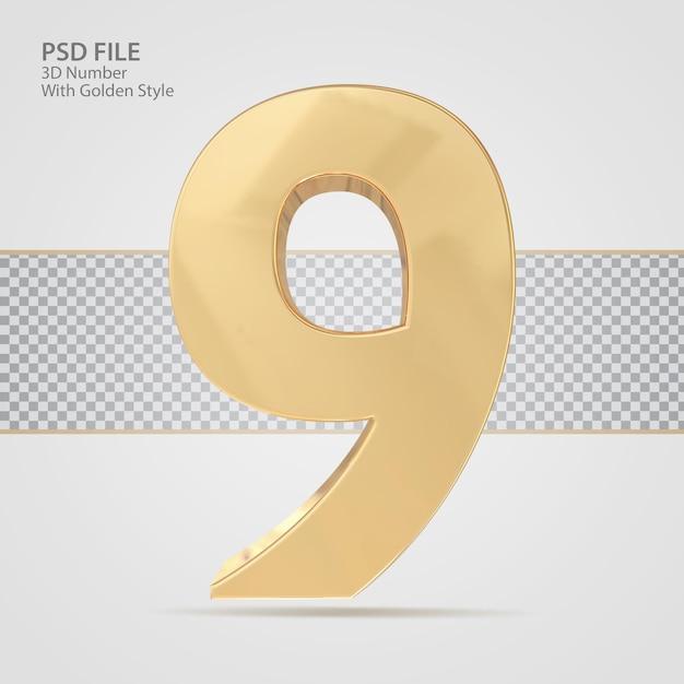 3d número 9 com luxo de renderização de estilo dourado