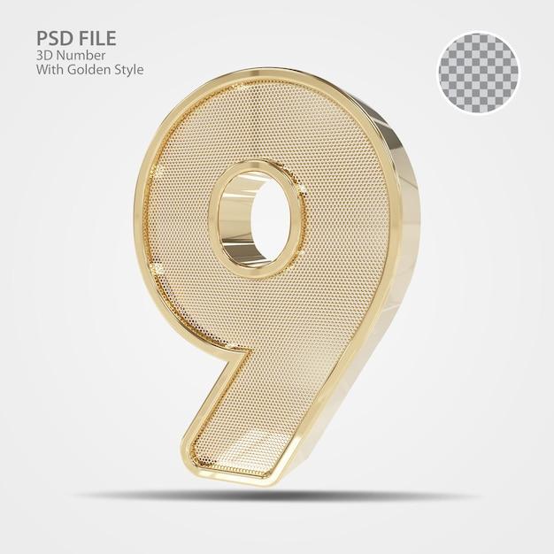 3d número 9 de ouro
